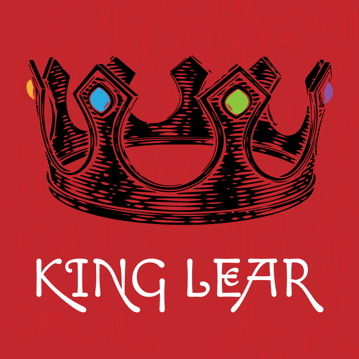 King Lear - black crown on red background graphic