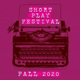 Short Play Festival Logo - typewriter on a pink background